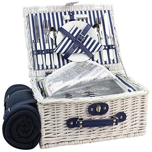 HappyPicnic INNO Stage Weide Picknickkorb Set für 2 Personen mit Kühlfach, Wasserdichter Picknickdecke, Picknickkoffer mit Besteck, Blauer Streifen und Extra-Groß Kapazität