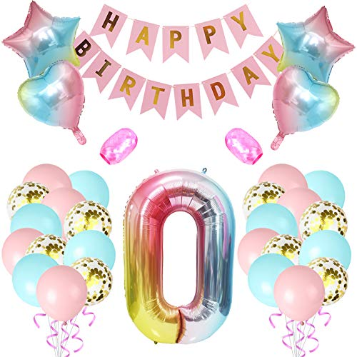 NOE 40 Inch Rainbow Number 0 Balloon, Large Gradient Helium Balloon Birthday Party Decorations Birthday Balloon Banner, Golden Confetti Balloon,Birthday Balloons for Girls and Boys 32pcs