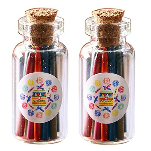 NWFashion Miniature 2 Bottles Crayon Miniature Fruit Storage Cooking Accessories Charms