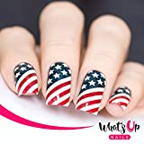 Whats Up Nails - American Flag Vinyl Stencils for Nail Art Design (2 Sheets, 24 Stencils Total)
