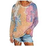 YANFANG Top De Costura para Mujer, Camiseta,Mujeres Casual Plus Size O-Neck Printed Loose Button Tunic Vblouse Tops,Camisa Blanca Mujer Blusas Y Camisas Verano Vintage Graphic Print-Rosa-XL