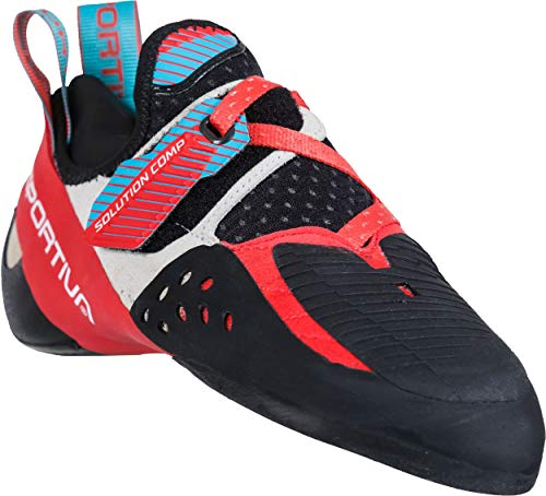 La Sportiva Women's Solution Comp Rock Climbing Shoes, Hibiscus/Malibu Blue, 36.5