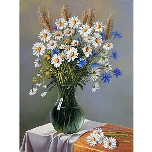 Pintura al óleo sin Marco D Flor y florero Aceite Ng por números Lienzo Ng para la decoración de la Boda Inicio Dec40x60cm