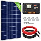 ECO-WORTHY 100 Watts Solar Panel Off Gird RV Boat Kit :100W Poly Solar Panel +20A LCD Charge Controller+Z Brackets