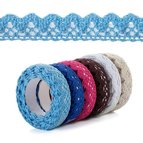 6 rollos de cinta de encaje vintage multicolor decoración de encaje autoadhesiva, cinta de encaje decorativa, cinta de tela azul, verde, rojo, marrón, beige, blanco para manualidades