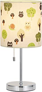 HAITRAL Modern Table Lamp -Elegant Bedside Lamp, Nightstand Desk Lamp Perfect for Bedroom, Living Room, Office, College Dorm -Fabric Lamp Shade Printed with Tree Pattern (HT-ATH09-PGS)