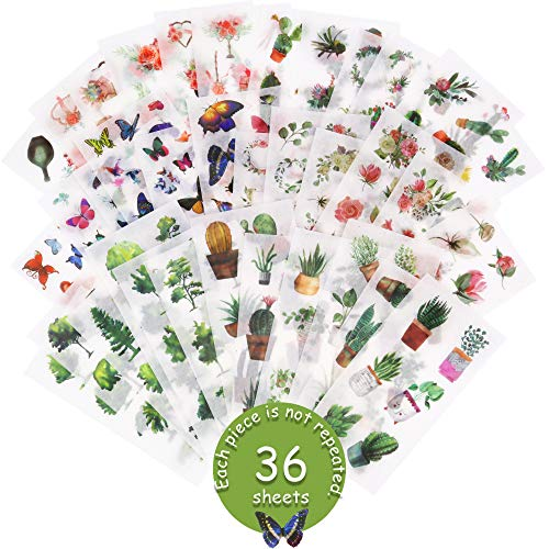36 Sheets Watercolor Washi Sticker - 300+ Pcs Flowers Butterfly Plant Meat Aesthetic Stickers for Scrapbooking, Bullet Journal, Envelope Seals, Diary, DIY Cards,Calendars Scrapbooking Washi Stickers