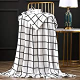 Bertte Luxury Decorative Velvet Pattern Bed Fleece Blanket Super Soft Cozy Warm Lightweight Throw for Sofa Couch, 50'x60', Black and White