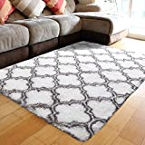 PAGISOFE Ultra Soft Contemporary Shaggy Fuzzy Moroccan Geometric Lattice Printed Fur Area Rug 4x6 Ft Indoor Shag Fluffy Carpets Rugs for Bedroom Living Room Home Decor, (White and Dark Grey)