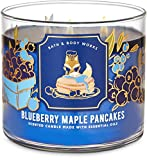White Barn Candle Company Bath and Body Works 3-Wick Scented Candle w/Essential Oils - 14.5 oz - Blueberry Maple Pancakes (Wild Blueberries, Griddle Fresh Pancakes, Warm Maple Syrup)
