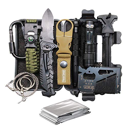 Cool & Unique Christmas Birthday Gifts for Men Dad Him Boyfriend Husband, Stocking Stuffers for Men, Fun Cool Gadgets for Mens Gifts Ideas, 11-in-1 Survival Gear and Equipment, Official Survival Kit