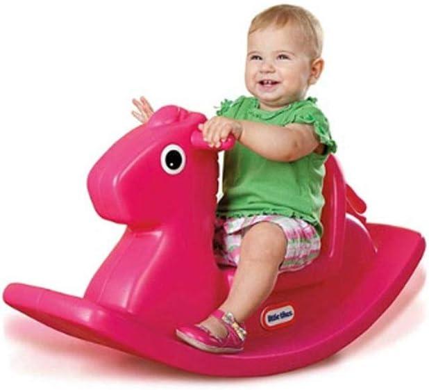 schommelpaard, roze schommelpaard, plastic schommelpaard, baby schommelpaard voor 1-3 jaar oud, zuigelingen schommelend dier (kleur: blauw) roze