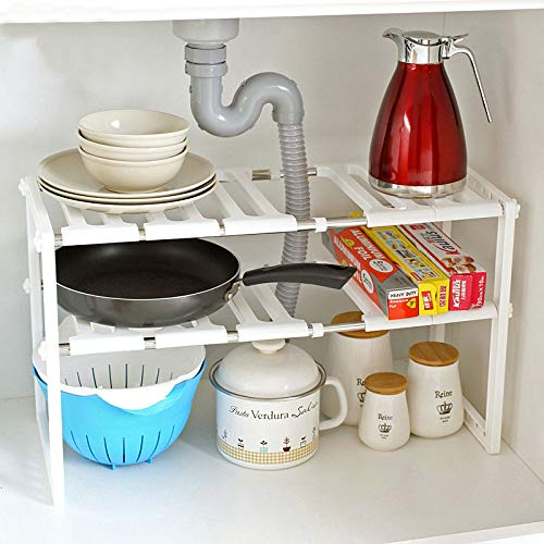 KINLO Estantería de pie para debajo del armario, ajustable en altura y largo, soporte para sartenes multifunción, armario de cocina, estante para el armario de cocina o como zapatero.