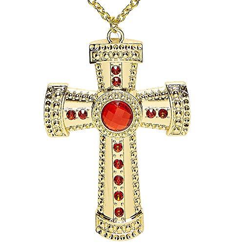 Widmann 95723 - Halskette mit Kreuz und Edelsteinen, gold, Prister, Bischöfe, Geistlicher