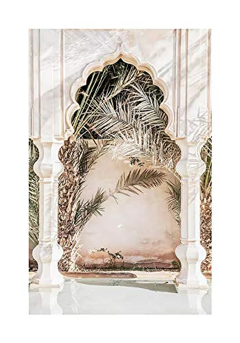 JHGJHK Carteles e Impresiones Modernas, Arquitectura de Mezquita Antigua, Arquitectura clásica marroquí, Arte de Pared de Puerta, Pintura al óleo Mural de decoración de Dormitorio (Imagen 5)