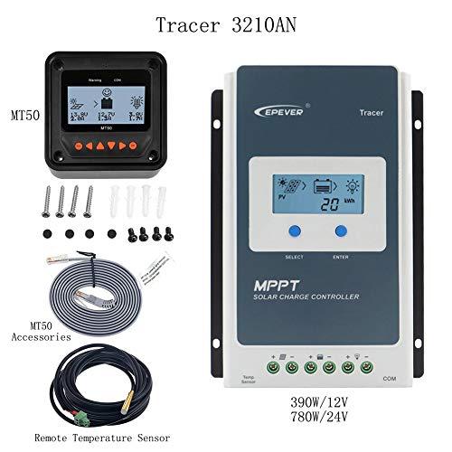 MPPT-Laderegler 30A, Solar Controller 100 V PV Negativ geerdet Solar Panel Regler 12 V / 24 V Auto Tracer 3210AN + Meter MT-50