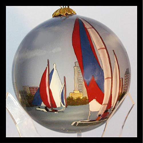 Hand Painted Glass Christmas Ornament - Skyline Day Miami