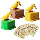 otutun 3 Pack Toothpick Dispensador Pájaros Caja de Palillos de Dientes Palillero Automática y 600 piezas de palillos de madera de bambú limpiar los dientes Para cocina casera