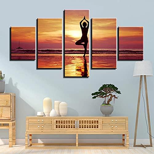 GUANGWEI Stampe Moderne HD Su Pittura Combinata Su Tela A 5 Pezzi Sexy Woman Sunset Yoga Ufficio Wall Art Soggiorno Camera Da Letto Camera Dei Bambini Decorazione Camera Arte Della Casa Regalo