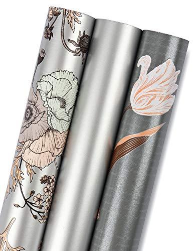 RUSPEPA Geschenkpapierrolle - Mini Roll - 3 Verschiedene Silberne Blumenmuster (14,4 Sq. Ft.Ttl.) - 44 cm X 305 cm Pro Rolle