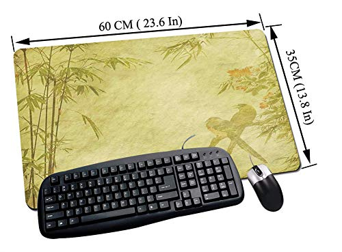 Alfombrilla Raton Gaming,Bamboo Decor, Silhouettes of Birds on the Branch y Bamboo Stems Twig Retro Inspired Wild,Impermeable con base de goma antideslizante, PC y laptop comfortable mouse pad60x35 cm