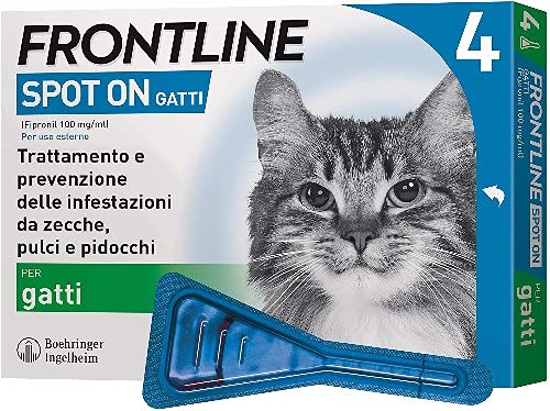 Frontline Spot On, 4 Pipette, Gatto, Antiparassitario per Gatti e Gattini di Lunga Durata, Protegge da Zecche, Pulci e Pidocchi, Antipulci In Confezione da 4 Pipette da 0.5 ml