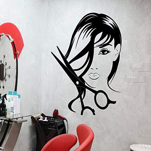 Pegatinas de pared Salón de belleza para niñas Calcomanía de pared Tijeras de peluquería Corte de cabello Pegatinas de vinilo Peluquería Interior Extraíble Glamour Mujer DIY 42X56Cm