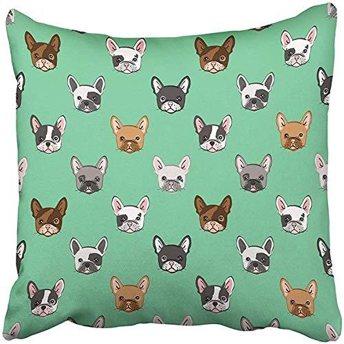 AEMAPE Throw Pillow Cover Black Dog Cute French Bulldog On Green White Little Adorable Best Cartoon Charming Pillowcase Home 55X55 Cm