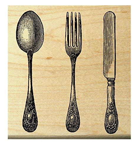 P21 Vintage Utensils - Spoon - Fork - Knife - Rubber Stamp