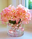 pink accent gems - 120 Blush Pink & White Pearls w/Matching Gem Accents - No Hole Jumbo/Assorted Sizes Vase Decorations - to Float The Pearls Order The Floating Packs from The Options Below