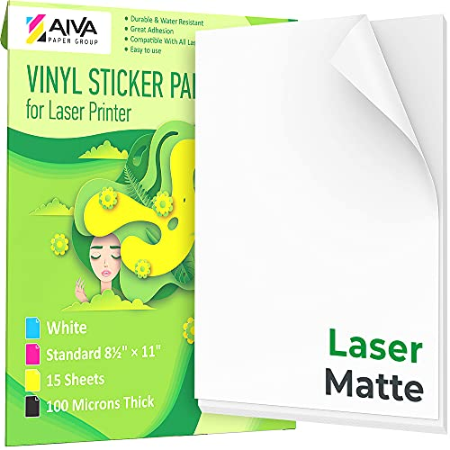 laser printer papers Printable Vinyl Sticker Paper for Laser Printer - Matte White - 15 Self-Adhesive Sheets - Waterproof Decal Paper - Standard Letter Size 8.5