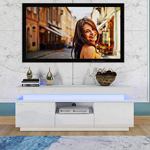Duseedik Modern White TV Stand with LED Light, High Gloss TV Cabinet w/ 2 Layers&2 Doors and Open Shelf,51 Inch Entertainment Center for Living Room