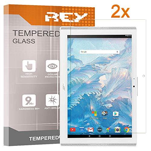 "REY 2X Protector de Pantalla para Acer ICONIA One 10 B3-A40 10.1"", Cristal Vidrio Templado Premium, Táblet"