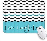 NIESIKKLAマウスパッド ライブ笑い愛航海テーマ波海水手描き下ろし曲線と書道の文字 ゲーミング オフィス最適 高級感 おしゃれ 防水 耐久性が良い 滑り止めゴム底 ゲーミングなど適用 用ノートブックコンピュータマウスマット