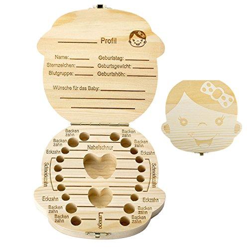 Mogokoyo Deutsch Version baby Kinder Original Holz Haar Milchzahndose Milchzähne Zähne box Kasten Souvenir Aufbewahrungsbox