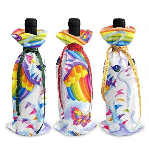 Sparkly Cat 3PCS Wine Bottle Cover Bags with Drawstrings for Dinner Wine Tasting Party Table Champagne