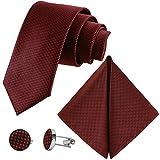 GASSANI Juego de 3 piezas de corbata a cuadros para hombre, extra larga,...