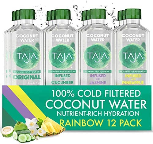 TAJA Coconut Water Infused with Cucumber Pineapple Jasmine Cold Filtered Raw Coconut Water With product image