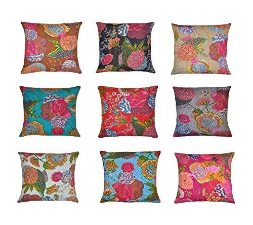 Federa per cuscino indiano Kantha, decorazione per la casa indiana, federa decorativa per cuscino indiana, federa per cuscino con stampa floreale indiana, fodera per cuscino per divano, 10 pezzi