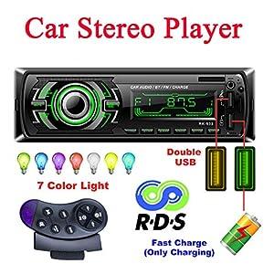 Bosszi Stereo Car Radio, Car Radio 4x60W Bluetooth 1Din FM Radio, Reproductor de MP3 Bluetooth Manos Libres para Automóvil con Control del Volante, Compatible con RDS/AUX/USB/SD