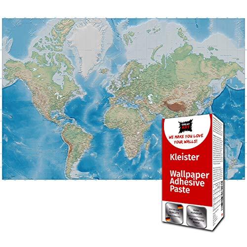GREAT ART Fototapete Weltkarte blauer Kontinent 336 x 238 cm - Ozeane Globus Landkarte Atlas Miller Projektion Wandtapete Dekoration Wandbild – 8 Teile Tapete inklusive Kleister