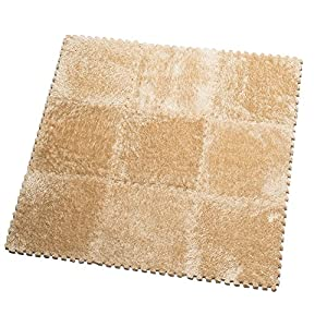 HemingWeigh Fuzzy Area Rug – 9 Fluffy Carpet Tiles for Kids – Ideal for Nursery Décor, Baby Room, Playroom and Kids Room. Plush, Velvet-Like Texture, Anti-Slip & Durable Rug (Sand)