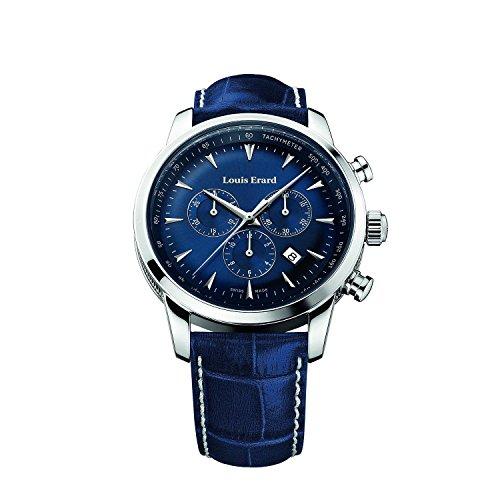 Louis Erard Heritage svizzero al quarzo quadrante blu orologio da uomo 13900AA05.bdc102