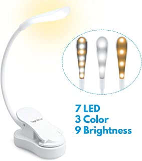 TaoHorse Book Light, Mini Rechargeable 7 LEDs Eye Care Reading Light, Touch Control Dimmable Clip on Light for Reading in Bed, 9 Brightness Levels, 3 Colors Changing, Perfect for Bookworms & Kids