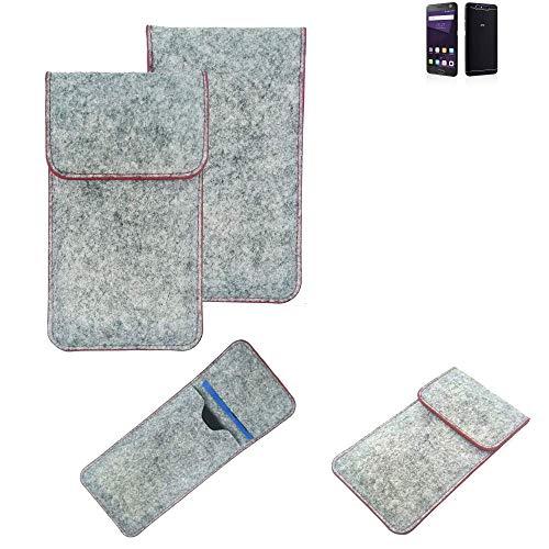K-S-Trade® Handy Schutz Hülle Für ZTE Blade V8 64 GB Schutzhülle Handyhülle Filztasche Pouch Tasche Hülle Sleeve Filzhülle Hellgrau Roter Rand