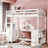 Loft Bed with Desk, Multifunctional Loft Bed Twin with Drawers, Cabinet, Shelves , Wooden Twin Loft Bed with Storage, Kids Loft Bed with Angled Ladder ,No Box Spring Needed ,White