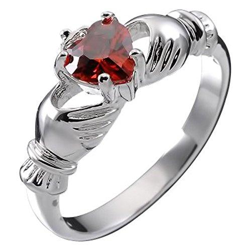 GWG Jewellery Anelli Donna Regalo Anello Argento Sterling Claddagh con Cuore in CZ Rosso Rubino, Mani e Corona - 7 per Donne