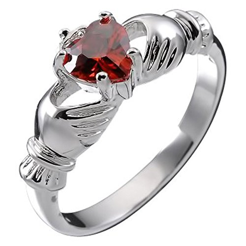 GWG Jewellery Anillos Mujer Regalo Anillo de Claddagh Plata de Ley Dos Manos Que Rodean Corazón de Circonita de Color Rubí Rojo con Corona - 7 para Mujeres