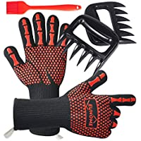 Euhome 3 in 1 BBQ Gloves Grill Accessories with Heat Resistant Gloves, Grill Brush & BBQ Bear Claws