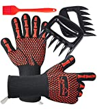 EUHOME 3 in 1 BBQ Grill Accessories with EN407 Certified Oven Mitts 1472 F° Extremely Heat Resistant BBQ Grilling Gloves, Grill Brush & BBQ Bear Claws for Grill, Baking, Christmas